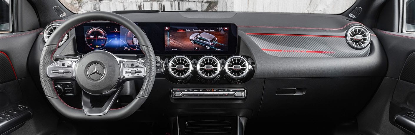 interior GLA 250 leather seating and large touch display